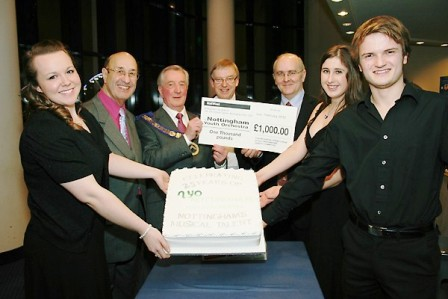 The Freemasons present a donation to NYO at the 25 year celebration concert in Feb 2010 at the Royal Concert Hall Nottingham